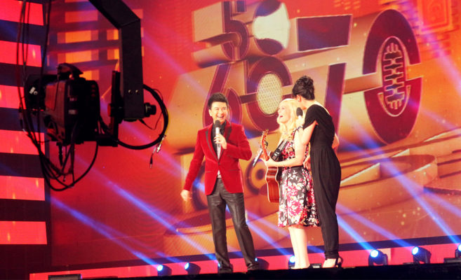 Candice Jarrett performing on television in Beijing