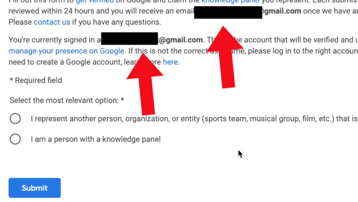 Knowledge Panel Gmail Address